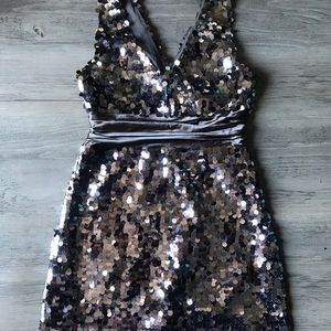 Metallic Silver Sequin Party Dress
